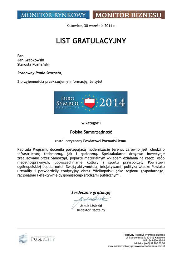 List Gratulacyjny EuroSymbol Polskiej Samorządności 2014 POWIAT POZNAŃSKI (2)