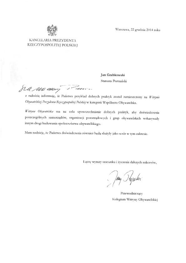 Pismo Kancelaria Prezydenta RP OUPP