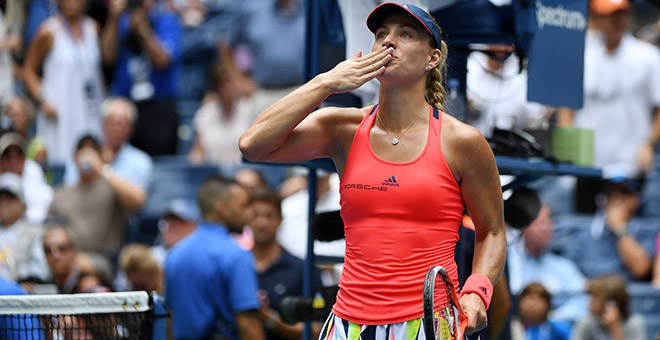 September 6, 2016 - Angelique Kerber in action against Roberta Vinci in a women's quarterfinal match during the 2016 US Open at the USTA Billie Jean King National Tennis Center in Flushing, NY.