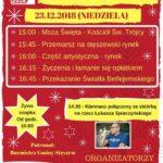 Plakat na kolędowanie w Stęszewie na 23 grudnia 2018