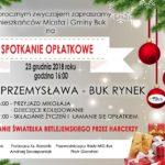 Plakat na spotkanie opłatkowe w Buku na 23 grudnia 2018