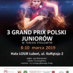 plakat 3 grand prix polski juniorów w tenisie stołowym