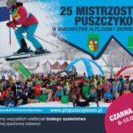 plakat 25 mistrzostwa puszczykowa w narciarstwie alpejskim i snowboardzie 8-10 marca 2019 Czarna Góra