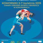 Plakat Pucharu Polski w zapasach w Komornikach od 5 do 7 kwietnia 2019