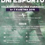 Plakat na swarzędzkie dni esportu na 6 i 7 kwietnia 2019