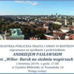 Plakat na spotkanie z podróżnikiem na 1 kwietnia 2019 w bibliotece kostrzyńskiej