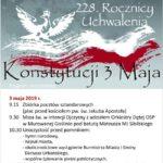 Plakat obchodów 228 Rocznicy Uchwalenia Konstytucji 3 Maja, 3-4 maja 2019 Murowana Goślina, zaprasza Burmistrz Miasta i Gminy Murowana Goślina