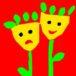 Grafika dwóch kwiatków uśmiechniętego i smutnego