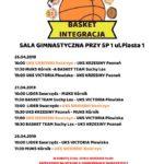 Plakat Basket Integracja, Turniej Koszykówki dziewcząt, 26-27 kwiecień 2019, sala gimnastyczna przy Sp1, Kostrzyn