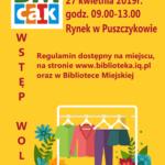 Plakat Pchli Targ, Rynek w Puszczykowie, 27 kwietnia 2019, Wstęp wolny