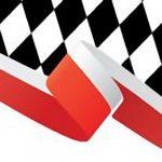 Flaga Polski na tle czarno-białej kratki