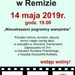 """Plakat Stare Kinow w Remizie zapraza 14 maja 2019 o godz. 19:00 na """" Nieustraszeni pogromcy wampirów"""", wstęp wolny"""