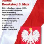 Plakat Obchodów Święta Konstytucji 3 Maja w Buku, zapraza Burmistrz Miasta i Gminy, 3 maja 2019, godz. 10:30