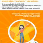 """Plakat Biblioteki Miejskiej w Puszczykowe zachęcający do udziału w """"Targu Talentów"""""""