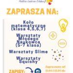 Plakat EduLand Mobilne Centrum Edukacji,zaprasza od 11.04 i 18.04 do Ośrodka Kultury w Luboniu na Koło matematyczne, warszaty squishy, warsztaty młodego naukowca