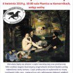 Plakat Śniadanie ze sztuką - warsztaty samorozwoju, 6 kwietnia 2019, godz. 10:00, sala Piwnica w Komornikach, wstęp wolny