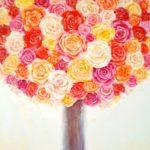 Obraz przedstawiający drzewo z koroną składającą sie z kolorowych pąków kwiatów