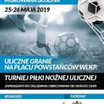 Plakat Turniej Piłki Nożnej Ulicznej, Murowana Goślina, 25-26 maja 2019r, godz. 10:00, na Placu Powstańców Wlkp.