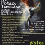 Plakat XV Pokazy Taneczne z okazji Międzynarodowego Dnia Tańca, 30 maja 2019r, godz.17:00, aula SP nr 1, Murowana Goślina