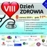 Plakat VIII dzień Zdrowia, 8 czerwca 2019, godz. 11:00-14:00 przy szkole Podstawowej w Koziegłowach