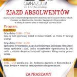 Plakat Zjazd Absolwentów, 20 lat Gimnazjum im. E. hr. Raczyńskiego, 8-9 czerwca 2019r