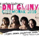"""Plakat Dni Gminy czerwonak, 3-9.06.2019, 7 czerwca spektakl """"Ogień, ziemia, powietrze, woda"""""""