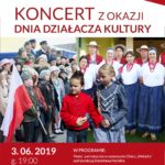 Plakat Koncert z okazji Dnia działacza kultury, 3 czerwca 2019, godz. 19:00, sala Duza POK, wstep wolny