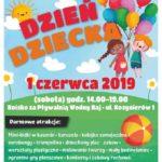 Plakat Dzień Dziecka,1 czerwca 2019, Swarzędz, Boisko za Pływalnią Wodny Raj, godz. 14:00-19:00