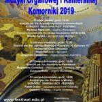 Plakat XIV Ogólnopolski Festiwal Muzyki Organowej i Kameralnej Komorniki 2019, 31 maja, 9 czerwca, 16 czerwca, 23 czerwca 2019,
