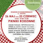 Plakat Park Śniadaniowy w Komornikach, 26 maja i 23 czerwca 2019, godz. 10:00-13:00,Stadion w Komornikach