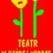 Grafika dwóch kwiatków uśmiechniętego i smutnego TEATR W KAŻDEJ WIOSCE
