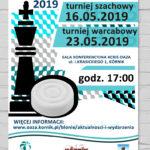 Plakat Turnieje dla dzieci, 16.05.2019 Turniej szachowy, 23.05.2019 Turniej warcabowy, KCRiS OAZA, godz. 17:00