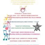 Plakat wakacyjne muzykowanie dla dzieci, które pasjonują się śpiewem oraz gra n aperkusji, 22-26 lipca 2019r, godz. 10:00-15:00, Gminny Ośrodek Kultury w Rokietnicy