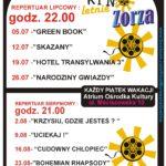 Plakat Kono Letnie Zorza, Atrium Ośrodka Kultury w Murowanej Goślinie, repertuar lipcowy i sierpniowy