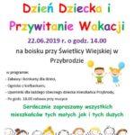 Plakat Dzień Dziecka i Przywiatnie Wakacji, 22.06.2019r., godz. 14:00, na boisku przy Świetlicy Wiejskiej w Przybrodzie