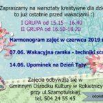 Harmonogra zajęć w czerwcu 2019r. w Gminnym Ośrodku Kultury w Rokietnicy