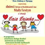 Plakat Mały Festyn z okazji Dnia Dziecka, 8.06.2019r., godz, 10:30, DK w Łęczycy