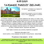 Plakat ŻTajemnice Puszczy Zielonki w ramach cyklu poznaj swojego sąsiada, 6.07.2019r., godz. 9:30, Owińska przy Kościele Św. Jana Chrzciciela