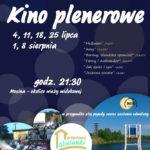 Plakat kina plenerowego w lipcu i sierpniu 2019 w Mosinie