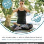 Plakat na zajęcia jogi w lipcu i sierpniu 2019 w Kórniku