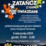 Plakat na zajęcie taneczne pod gwiazdami na 3 sierpnia 2019 w Dopiewie