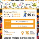 Plakat zajęć z robotyki w lipcu i sierpniu 2019