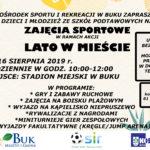 Plakat na zajęcia sportowe w Buku na sierpień 2019