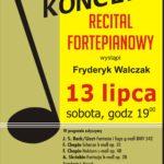 Plakat na recital fortepianowy na 13 lipca 2019