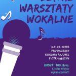 Plakat na warsztaty wokalne w sierpniu 2019 w Buku