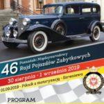 Plakat rajdu pojazdów zabytkowych od 30 sierpnia do 1 września w Szreniawie