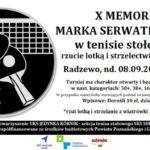 Plakat 10 Memoriału Serwtkiewicza w tenisie stołowym, lotkach i strzelectwie