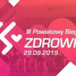 Plakat powiatowego biegu po zdrowie 29 września 2019
