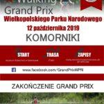 Plakat na zawody nordic walking w Komornikach na 12 października 2019