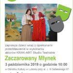 Plakat na przedstawienie dla dzieci na 3 października 2019 w Luboniu